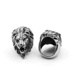 Bague lion homme titane