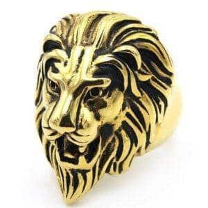 Chevalière homme lion or titane