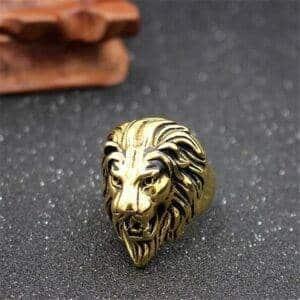 Bague lion gitan or
