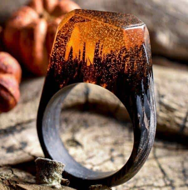 Bague en bois orange