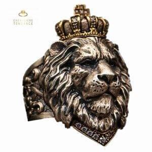 Bague lion homme roi