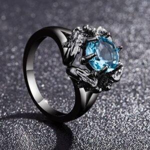 bague dragon femme bleu clair