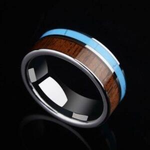 Bague en bois bleu