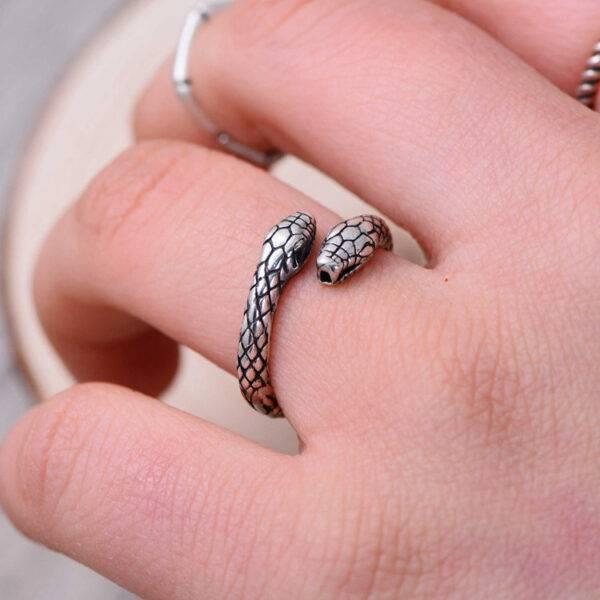 Bague argent femme serpent