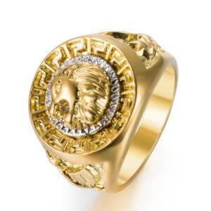 Bague tête de lion or