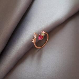 Bague or rose fleur